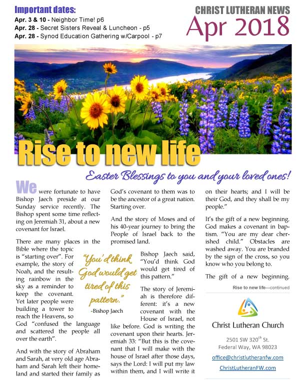 2018-04-Apr-CLCFW-newsletter