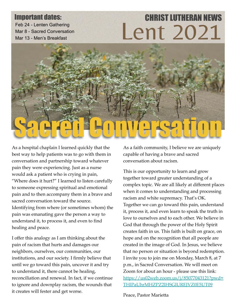 2021 03 Lent CLCFW newsletter